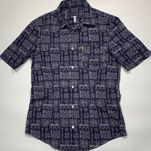 Armani Jeans Button-Up Short Sleeve Paisley Print